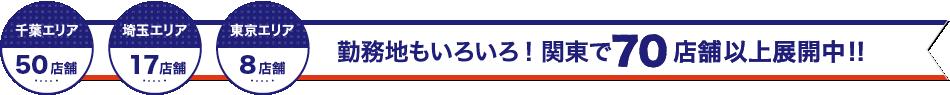 勤務地もいろいろ! 関東で70店舗以上展開中!! 千葉エリア43店舗、埼玉エリア18店舗、東京エリア9店舗